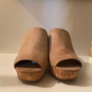 NWT faux suede open toe heels